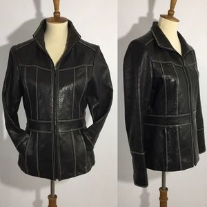 Marc New York Black Leather Jacket EUC